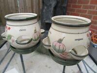 Pair herb plant pots