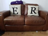 Brown Leather Sofa - 3 & 2 Seater. *** OPEN TO OFFERS ***
