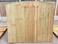 HEAVY DUTY ARCH TOP VERTICAL BOARD FEATHER EDGE TANALISED PRESSURE TREATED GARDEN FENCE PANELS