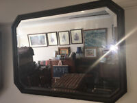 Vintage Arts and Crafts Dark Wood Beaded Framed Octagonal Bevelled Edge Wall Mirror