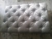gorgeous footstool... /... coffee table.... SILVER..... glass buttons
