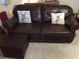 3 seater sofa, arm chair and foot stool.