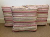 3x Pink Pattern Cushionss