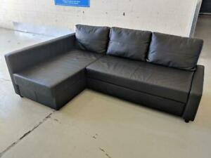 Black Leather IKEA FRIHETEN Convertible Sofa Bed with Storage. Free Delivery.