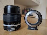 Nikon Ai-S NIKKOR 105mm f/2.5 MF Lens + Metabones adapter for Sony FE mount