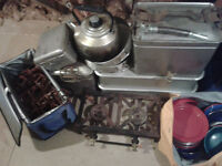 LARGE SELECTION OF CAMPING EQIPMENT AND DOUBLE COOKING RING AND EX ARMY KITCHEN COVER