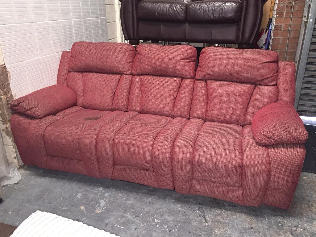 Red Fabric 3 Seater Recliner sofa