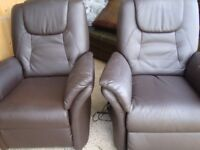 PAIR OF BROWN FAUX LEATHER ELECTRIC RISER CHAIRS IN EXCELLENT CONDITION COST £425 EACH £200 THE PAIR