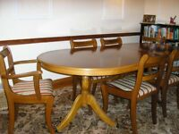 Regency Dining Suite, Real Yew wood, four chairs two carver chairs. Good condition