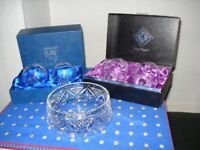 Crystal glasses and bowl