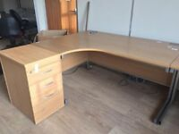 Beech Office Corner Desk Table with Draw Pedestal. Left Hand or Right Hand Turn Desk