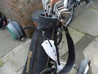 Cheap half set of used but i VGC golf clubs and foldable trolley, balls tees and glove