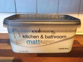 2.5l Colours Matt kitchen and bathroom paint in Crystal Blue