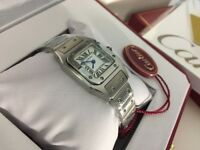New Swiss LADIES Cartier Santos Stainless Steel Watch