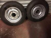 Two trailer wheels and tyres