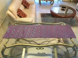 Table Runner - Purple with Shiny Electric Blue Flower and Vines