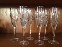 6 Royal Brierley Crystal Champagne Flutes / Glasses Regent or Winchester Pattern Excellent Condition