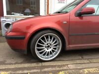 "19"" 5x100 ALLOYS WITH NEW TYRES GREAT CONDITION ANY VOLKSWAGEN AUDI SKODA SEAT"
