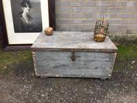 VINTAGE WOODEN TRUNK CHEST FREE DELIVERY STORAGE BOX