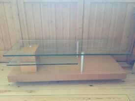 Glass and light wood TV stand