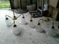 NO TEXTS PLEASE. WALL & CEILING LIGHTS. FROSTED GLASS AND BRASS. £10 THE LOT.
