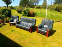 Blue leather 3 seater and 2 single seat sofa