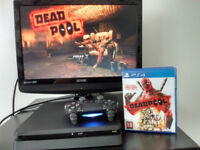 New PS4 SLIM console with wireless controller and Deadpool game