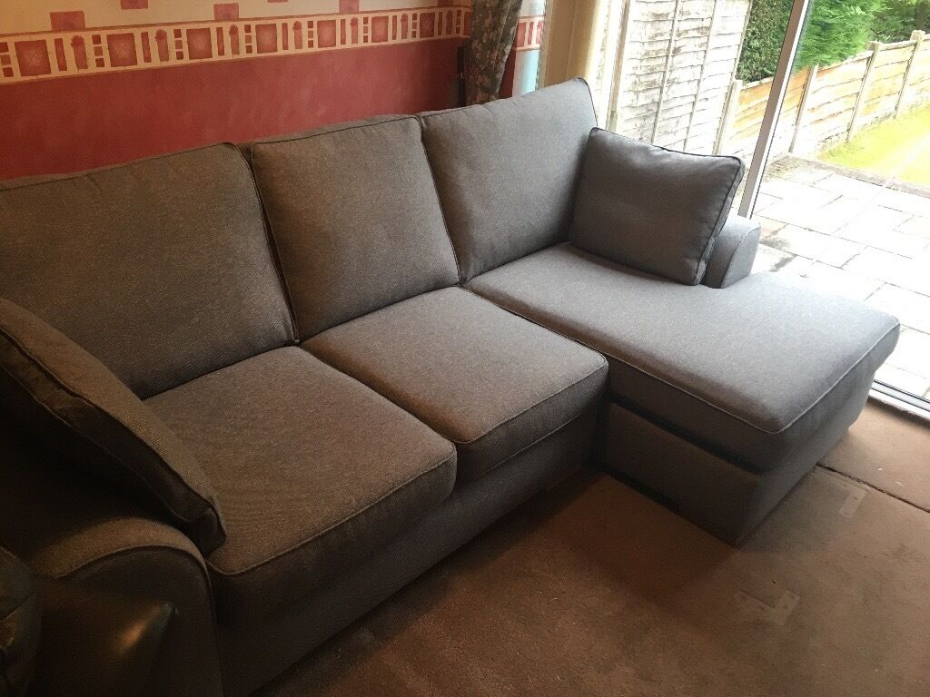 Next Stamford Right Hand Sofa Corner Chaise Mid Grey In