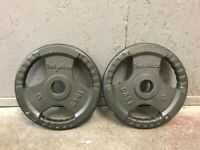 FREE DELIVERY TWO BODYMAX 15KG OLYMPIC CAST IRON WEIGHT PLATES