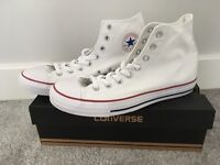 WHITE CONVERSE HIGH TOPS - SIZE 10