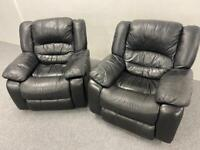 2 Black full leather recliner armchair sofas