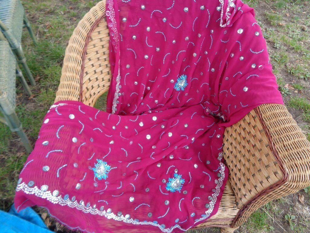 pretty pink beaded sari