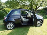 Fiat 500 Lounge *PANORAMIC ROOF*LOW MILEAGE* 2009 Black with cream interior