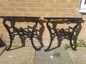 Antique Cast Iron Small Garden Table Ends Rare Lions Heads Refurbished in Black