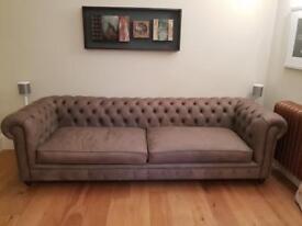 Grey nuebuck chesterfield sofa