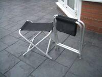 Two aluminium folding stools