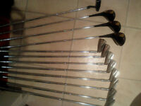 3 Woods 9 Irons all same make and 1 tour putter