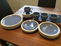 Dinner set crockery blue 4 x plates, bowls, cups, saucers 3 x side plates £8