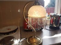 Brass touch lamp marble glass shade