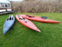 three kayaks for sale
