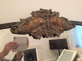 Large bronze mirror with rabbit design