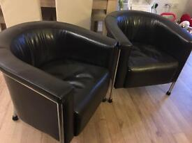 Dark brown genuine leather tub chairs