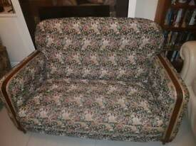 Vintage 2 seater couch and 2 arm chairs.