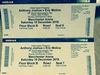Anthony Joshua V's Eric Molina Tickets x 2 Saturday Dec 10th