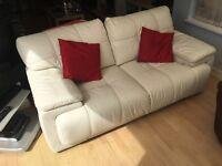 Italian leather ivory sofa- gorgeous