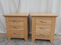 Oak Bedside Cabinets 3 Drawer