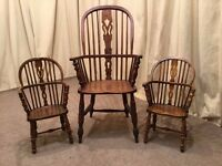 2 Antique Windsor Chairs - Child's / Miniature Carver Pair - Doll / Teddy Bear Chair