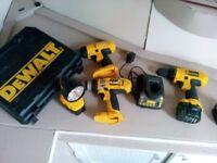 Assortment of dewalt tools