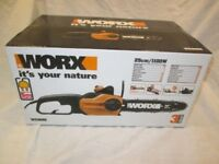 BNIB WORX WG305E 25cm 240v Corded Chainsaw 1100W motor in a lightweight and efficient 35cm design