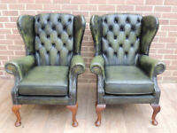 Queen Anne Vintage Pair of Chesterfield Wingback Armchairs (UK Delivery)